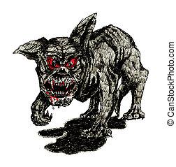der, schwarz, hölle, hund