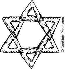 Skizze, stern, david. Stil, stern, jüdisch, gekritzel ...