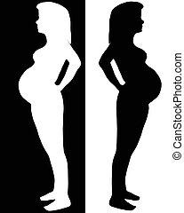 der, silhouette, von, der, schwanger, woman.