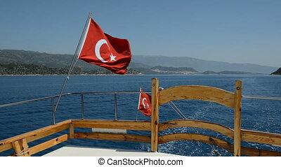 der, türkische markierung, auf, yacht, antalya