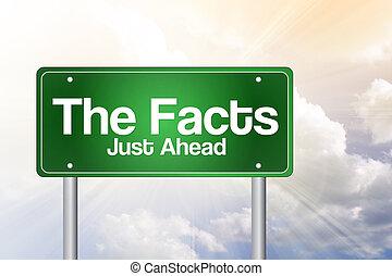 der, tatsachen, gerecht, voraus, grün, straße zeichen, geschäftskonzept