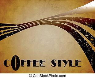 der, vektor, bohnenkaffee, stil, hintergrund