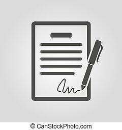 der, vertrag, icon., abkommen, und, unterschrift, pakt,...