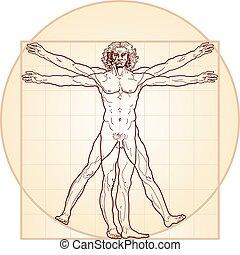 der, vitruvian mann, (homo, vitruviano)