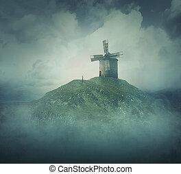 der, windmühle, auf, a, hügel