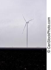der, windmühle, auf, feld