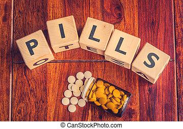 der, wort, pillen, auf, a, tisch