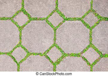 der, zement, mauerstein, zwischen, grünes gras, hintergrund