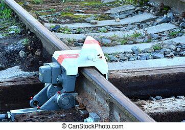 derail, מכשיר, ב, רכבת, קו