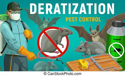 Deratization pest control, extermination and disinfestation service, vector poster. Rat, mouse and bats rodents disinfection, sanitary extermination, domestic and urban city deratization pest control