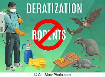Deratization, rodent extermination service vector poster. Rats and bats pest control, domestic and office mice extermination, exterminator with press sprayer, mousetrap, sanitary deratization service