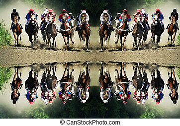 Derby, horse race and Pyatigorsk hippodrome, Northern Caucasus, Russia.