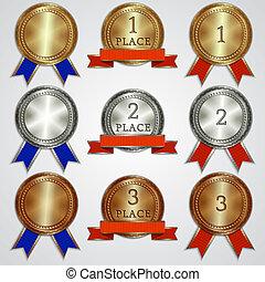 derde, eerst, tweede, plek, linten, set, vector, metalen, ...