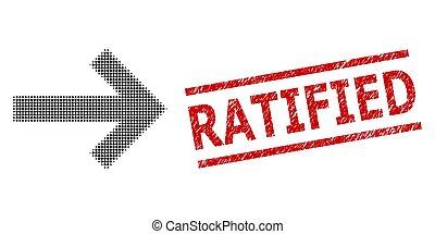 derecho, halftone, sello, flecha, ratified, punteado, ...