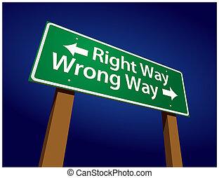 derecho, ilustración, señal, mal, verde, manera, manera, ...