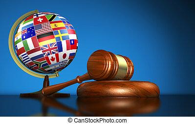 derecho internacional, escuela, y, derechos humanos, concepto