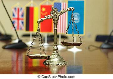 derecho internacional, y, orden