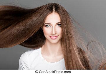 derecho, mujer, brillante, largo, hair.