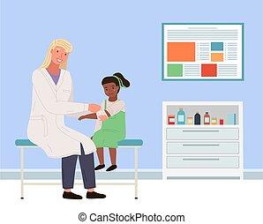 derecho, oficina, doctor, s, niño, convidar, niña, orthopedist, médico, mano., vendas