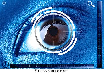 derecho, ojo, exploración, identificación, seguridad, o