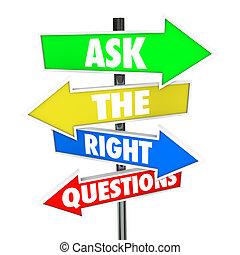 derecho, preguntas, respuestas, flecha, señales, pregunte, ...