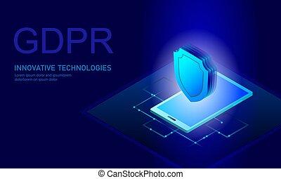 derecho, protector, ser, global, gdpr., información, ...