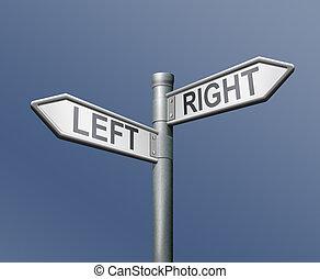 derecho, signo igual, opción, camino, izquierda