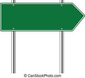 derecho, verde, camino, muestra de la flecha