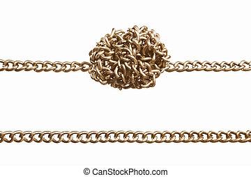 derecho, y, torcido, cadena