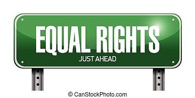 derechos, diseño, igual, ilustración, señal