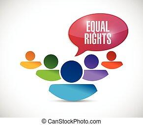 derechos, diversidad, igual, ilustración, gente