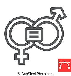 derechos, eps, señal, sexismo, género, icono, editable, feminismo, línea, gráficos, lineal, igual, vector, 10., igualdad, golpe