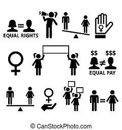 derechos, forma, feminismo, derechos, hombres, igual, mujeres, mujeres