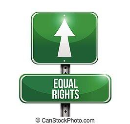 derechos, igual, ilustración, señal, calle, diseño