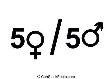 derechos iguales, hembra, macho, concepto, icono, símbolo