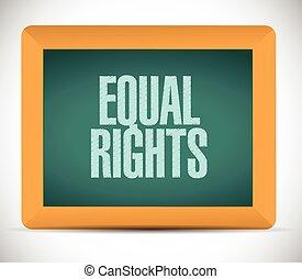 derechos, ilustración, mensaje, igual