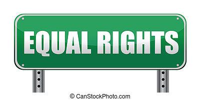 derechos, señal, camino, aislado, igual