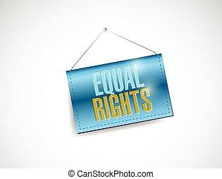 derechos, señal, igual, ilustración, ahorcadura