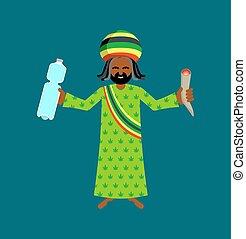 deredy., botella, rasta, rastafarian., spliff., agua,...