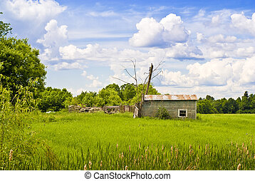 Derelict Cabin in A field - A derelict, small wooden cabin ...