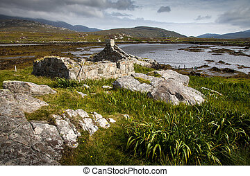 Derelict crofters cottage by a loch