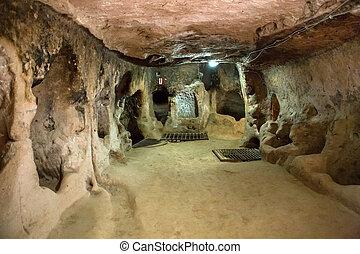 Derinkuyu underground city, Cappadocia in Central Anatolia,...