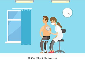 Dermatologist female character examining a mole from a male patient with magnifying glass in clinic. Medical procedure dermatoscopy. A dermatologist looking at a patients skin, therapist, oncologist