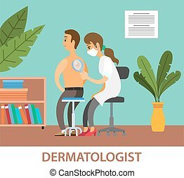 Dermatologist female character examining a spot from a male patient with magnifying glass in clinic. Medical procedure dermatoscopy. A dermatologist looking at a patients skin, therapist, oncologist
