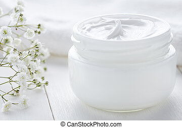 Dermatology cosmetic cream with flowers hygienic skincare product