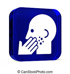 Dermatology - Glass button icon with white health care sign...