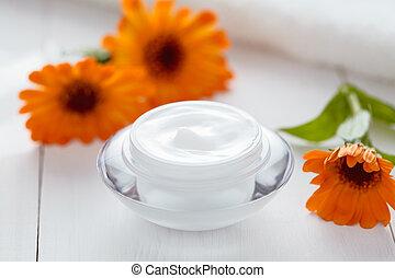 Dermatology herbal cosmetic cream with calendula vitamin spa lotion