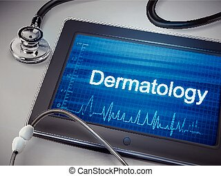 dermatology word display on tablet over table