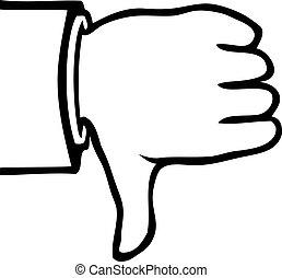 derned, hvid, sort, tommelfingre