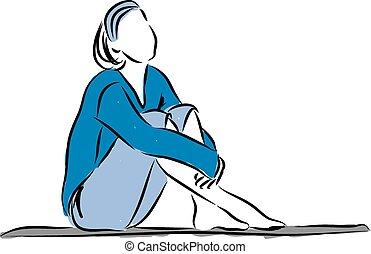 derned, kvinde, illustrati, slappe, siddende